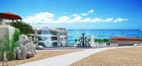 海边休闲广场max模型