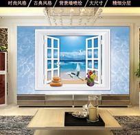 海景沙滩风景图电视背景墙壁纸