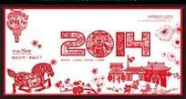 2014剪纸风格春节年会背景