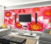 花开富贵电视背景墙壁纸