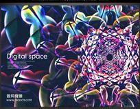 个性数码花纹海报背景