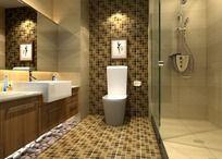 高档卫生间3D效果图