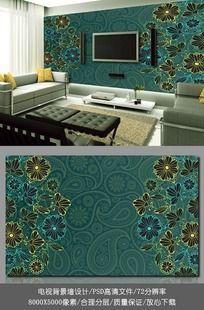 欧式花纹客厅电视背景墙壁纸设计