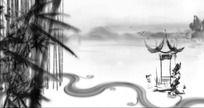 中国画水墨江南山水视频