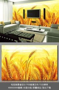 金黄色小麦电视背景墙壁纸