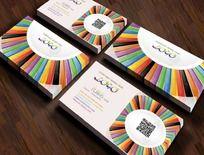 彩色拼盘艺术名片设计