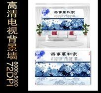 青花牡丹装饰画背景墙