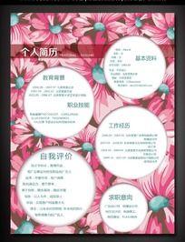 粉色花朵女性求职简历素材