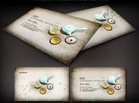 中国古典茶具名片设计