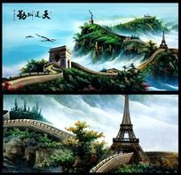 万里长城风景室内装饰挂画设计