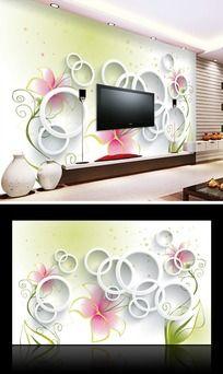 时尚花纹客厅电视背景墙