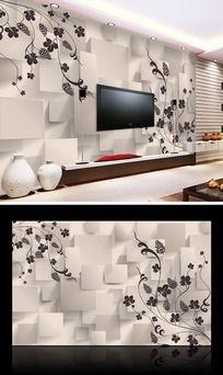 11款 素雅花纹3D电视背景墙设计PSD下载