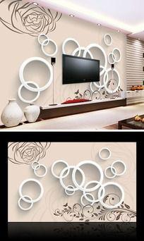 素雅玫瑰花纹3D电视背景墙