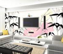 中国水墨竹子客厅电视背景墙