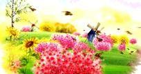 春天蝴蝶鲜花舞台晚会背景