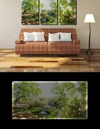 绿色风景客厅装饰画无框画