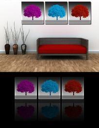 三色心形树装饰画无框画