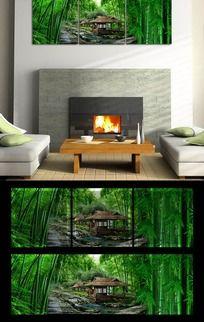 大自然竹林客厅无框画挂画