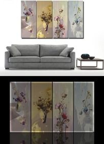 花卉水彩画客厅装饰画设计