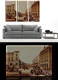 欧式建筑客厅无框画设计