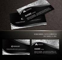 欧式花纹黑白名片设计