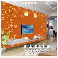 橙色花纹客厅电视背景墙