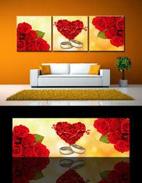 浪漫温馨心形玫瑰花三联无框画
