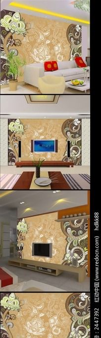 欧式花纹客厅电视背景墙
