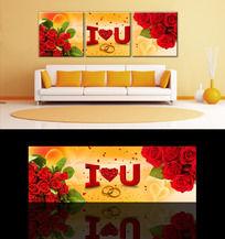 浪漫温馨玫瑰花三联无框画