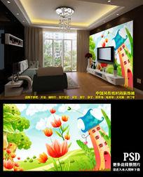 儿童卧室卡通背景墙画设计图