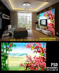 家居装修房间喜庆红梅电视墙背景