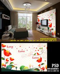 梦幻花卉花朵电视背景墙装饰画