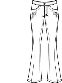 女装牛仔裤前片矢量图ai