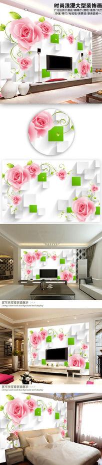 玫瑰倒影3D电视背景墙