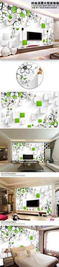 梦幻花卉花朵3D电视背景墙