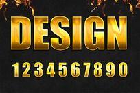 0-9黄金色ps字体设计
