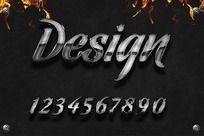 0-9金属效果ps字体设计