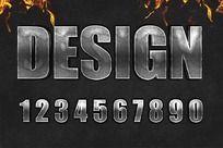 0-9金属艺术字体