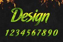0-9绿色艺术字体设计