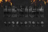 0-9psd分层金属字体