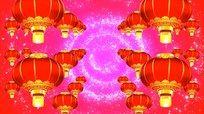 大红灯笼视频 红色粒子星光背景灯笼视频 mov
