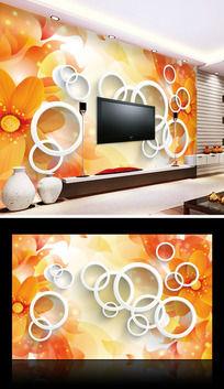 橙色简约3D电视背景墙