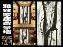 中式玄关松树枝干水墨画背景墙