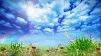 LED春天蓝天白云舞台背景素材