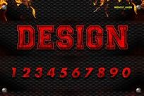 0-9红色恐怖字体