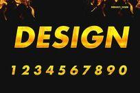 0-9金黄色字体 PSD