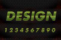 0-9绿色网纹效果字体