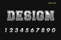 0-9银色质感字体
