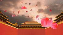 皇宫高墙花瓣飞舞LED高清视频背景