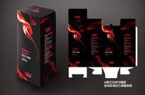 黑色火焰包装盒展开图